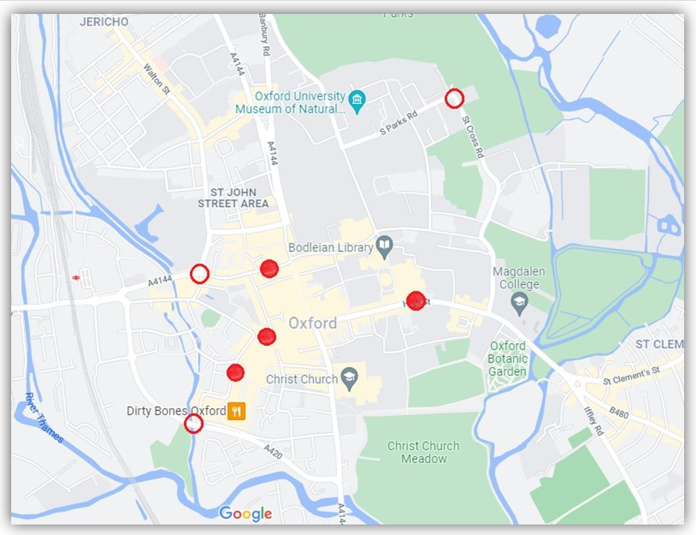 Map of existing and proposed bus gates in Oxford city centre